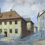Widok budynku w1936 r., autorstwa krakowskiego malarza Zygmunta Wierciaka (ANK, Zbiór ikonograficzny, sygn. 29/671/1799)