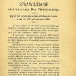 Drukowane sprawozdanie Franciszka Piekosińskiego, archiwariusza wMagistracie Miasta Krakowa ( ANK, sygn. Bibl. 1058)