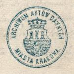Odcisk tłoku pieczętnego Archiwum Aktów Dawnych miasta Krakowa, ok. 1890 r.