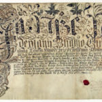 Provost Rudolf Francis Hagen issues a letter of good birth for Rudolf Wacław Nagely. Document illustrated with a floral ornament made in ink, within it there are figures of St. Rudolf and St. Wenceslaus, Obce Czeslickie, 1st March 1738 (ANK, Zbiór dokumentów pergaminowych, sygn. Perg. 1001)