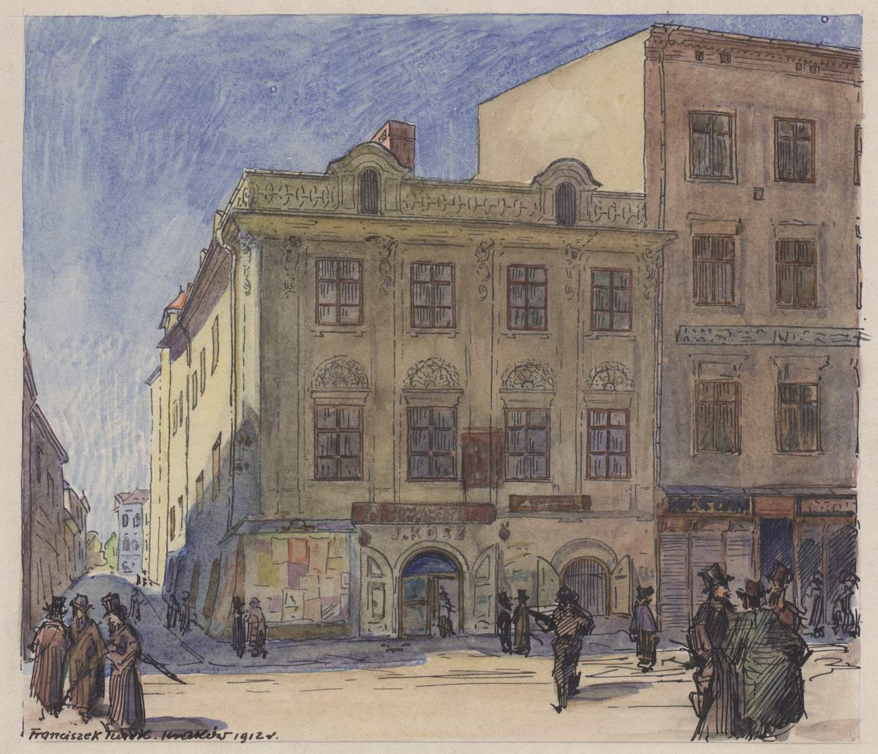 Kolorowy rysunek przedstawiający elewację frontową kamienicy przy ul.Grodzkiej 37, napierwszym planie przechodzący ludzie