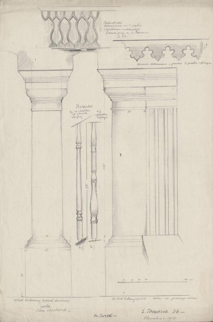 Rysunek ołówkiem przedstawiający fragment murowanych kolumn orazdrewnianych balustrad ibalasek. Udołu rysunku polewej odręczna adnotacja artysty ołówkiem: św.Tomasza 26 zburzono wr. 1914