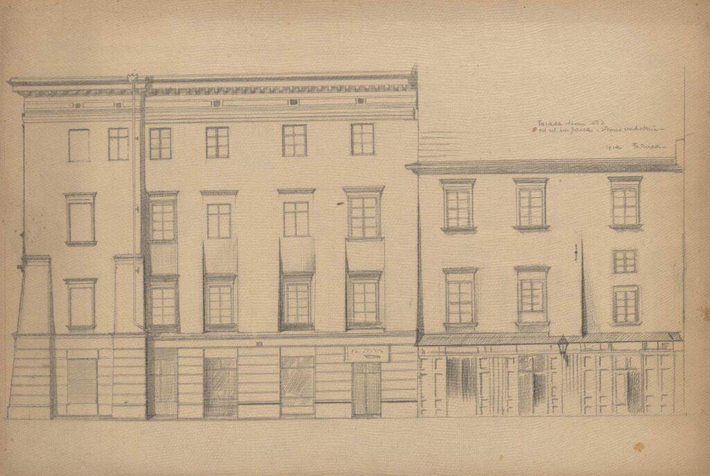 Rysunek ołówkiem przedstawiający elewacje frontowe domów przy ul.św.Jana 2 i4, widziane spod kamienicy przy ul.św.Jana 3. Wgórnej części rysunku, poprawej, odręczna adnotacja artysty ołówkiem: Fasada domu Nr2 odul.św.Jana - strona wschodnia
