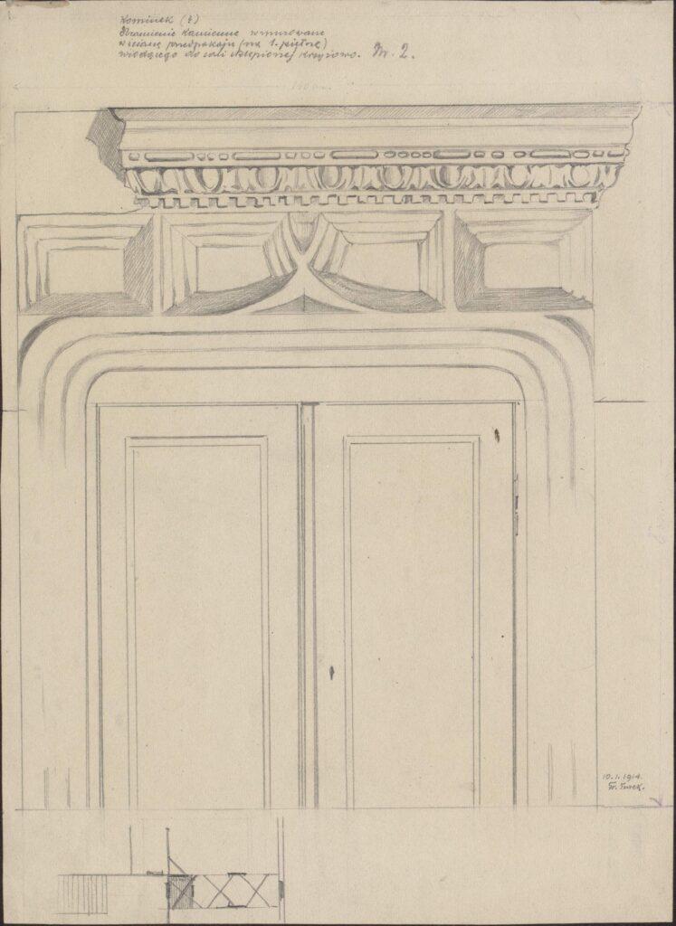 Rysunek ołówkiem przedstawiający detal nadproża zpóźnogotycką dekoracją domu przy ul.św.Jana 2. Wgórnej części rysunku odręczna adnotacja artysty ołówkiem: kominek (?) obramienie kamienne wmurowane wścianę przedpokoju (na1 piętrze) wiodącego dosali sklepionej krzyżowo