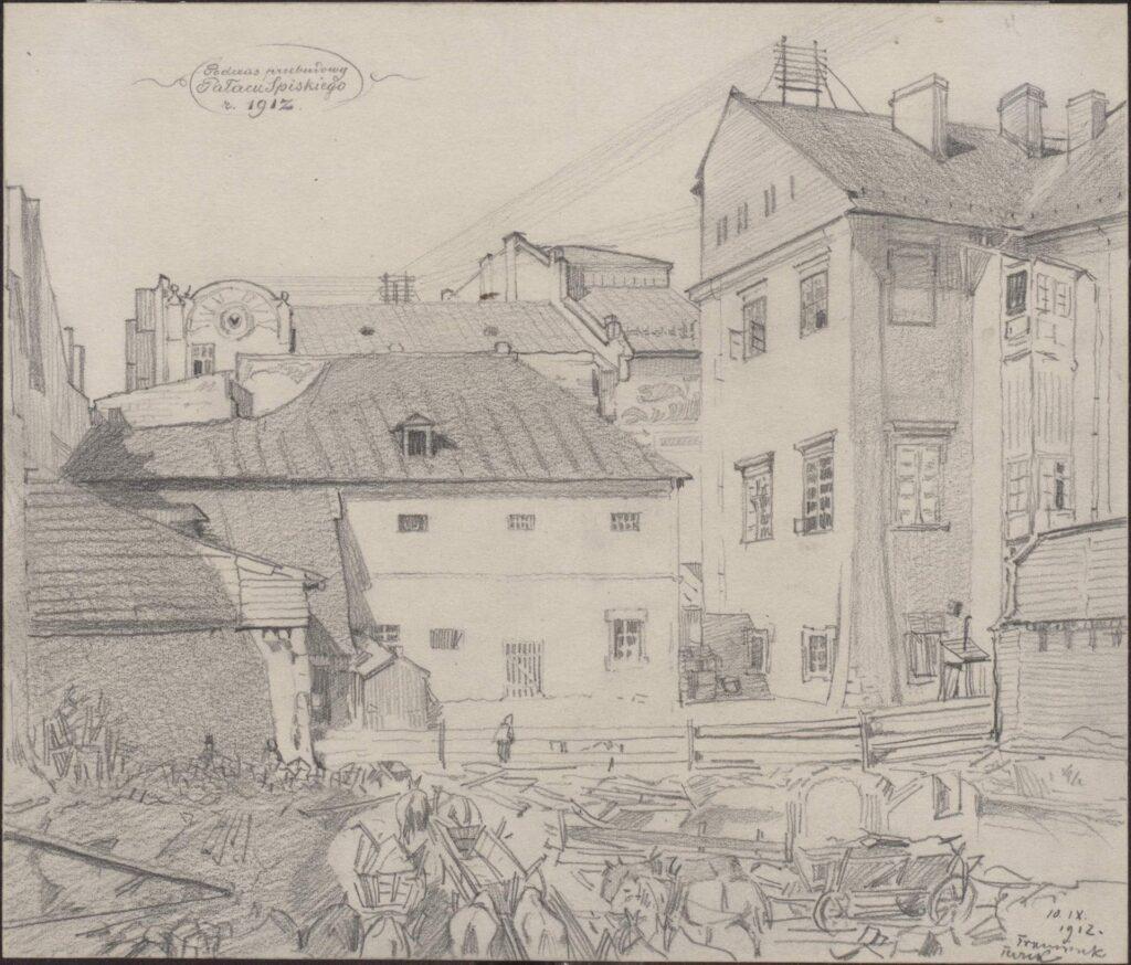 Rysunek ołówkiem przedstawiający dziedziniec Pałacu Spiskiego zfurmankami napierwszym palnie. Wgórnej części rysunku odręczna adnotacja artysty ołówkiem: Podczas przebudowy Pałacu Spiskiego r. 1912