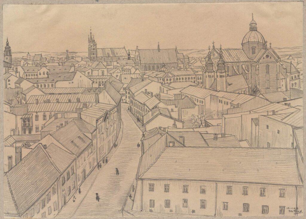 Rysunek ołówkiem przedstawiający widok zewzgórza wawelskiego wkierunku północnym, pośrodku widoczna ulica Kanonicza, wtle odlewej wieża ratuszowa, kościół Mariacki, kościół dominikanów iWszystkich Świętych