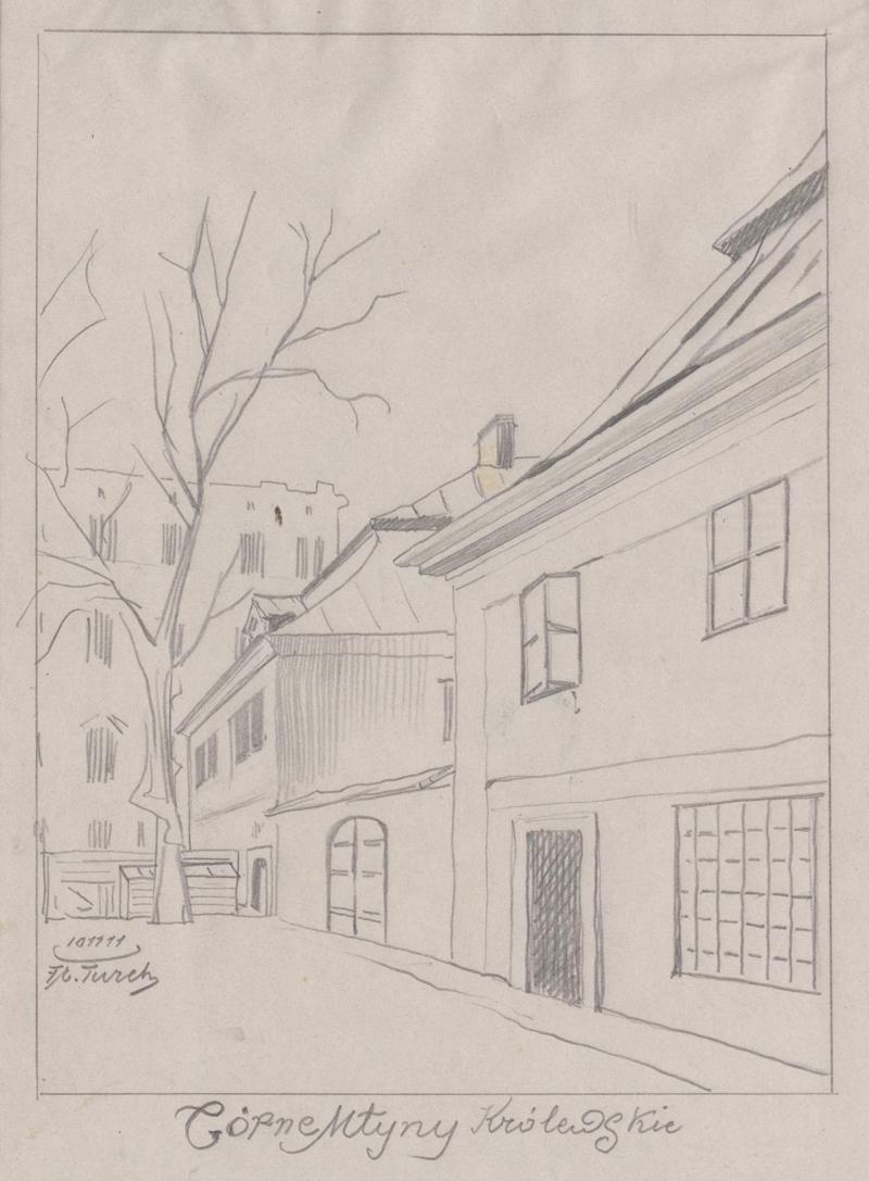 Rysunek ołówkiem przedstawiający zabudowę Górnych Młynów Królewskich przy ul.Łobzowskiej, widzianych odstrony podwórza. Wdolnej części rysunku odręczna adnotacja artysty ołówkiem: Górne Młyny Królewskie