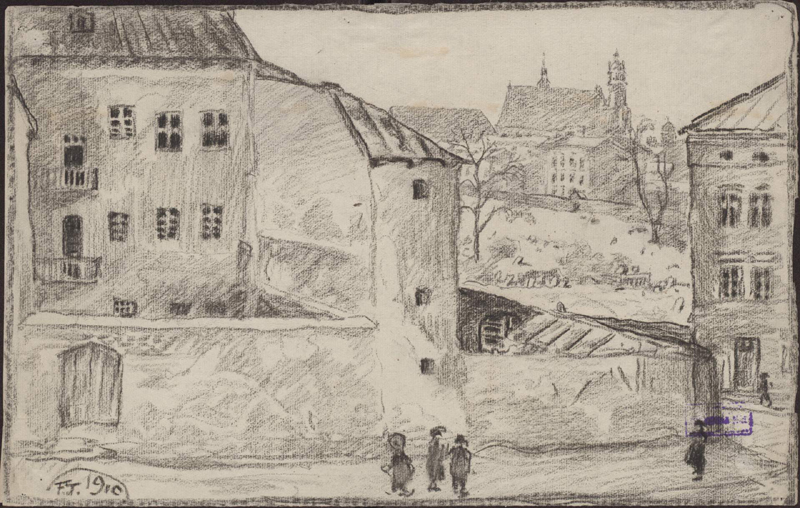 Rysunek ołówkiem przedstawiający część zabudowy przy ul.Miodowej 41, poprawej stronie widoczny stary cmentarz orazczęść dwupiętrowej kamienicy przy ul.Miodowej 39