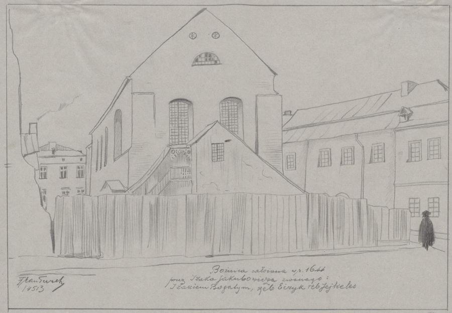Rysunek ołówkiem przedstawiający elewację frontową synagogi Izaaka, przedbudynkiem drewniany parkan. Wdolnej części rysunku odręczna adnotacja artysty ołówkiem: Bóżnica założona wr. 1644 przezIzaaka Jakubowicza zwanego Izaakiem Bogatym, reb Eizyk, reb Jejkeles
