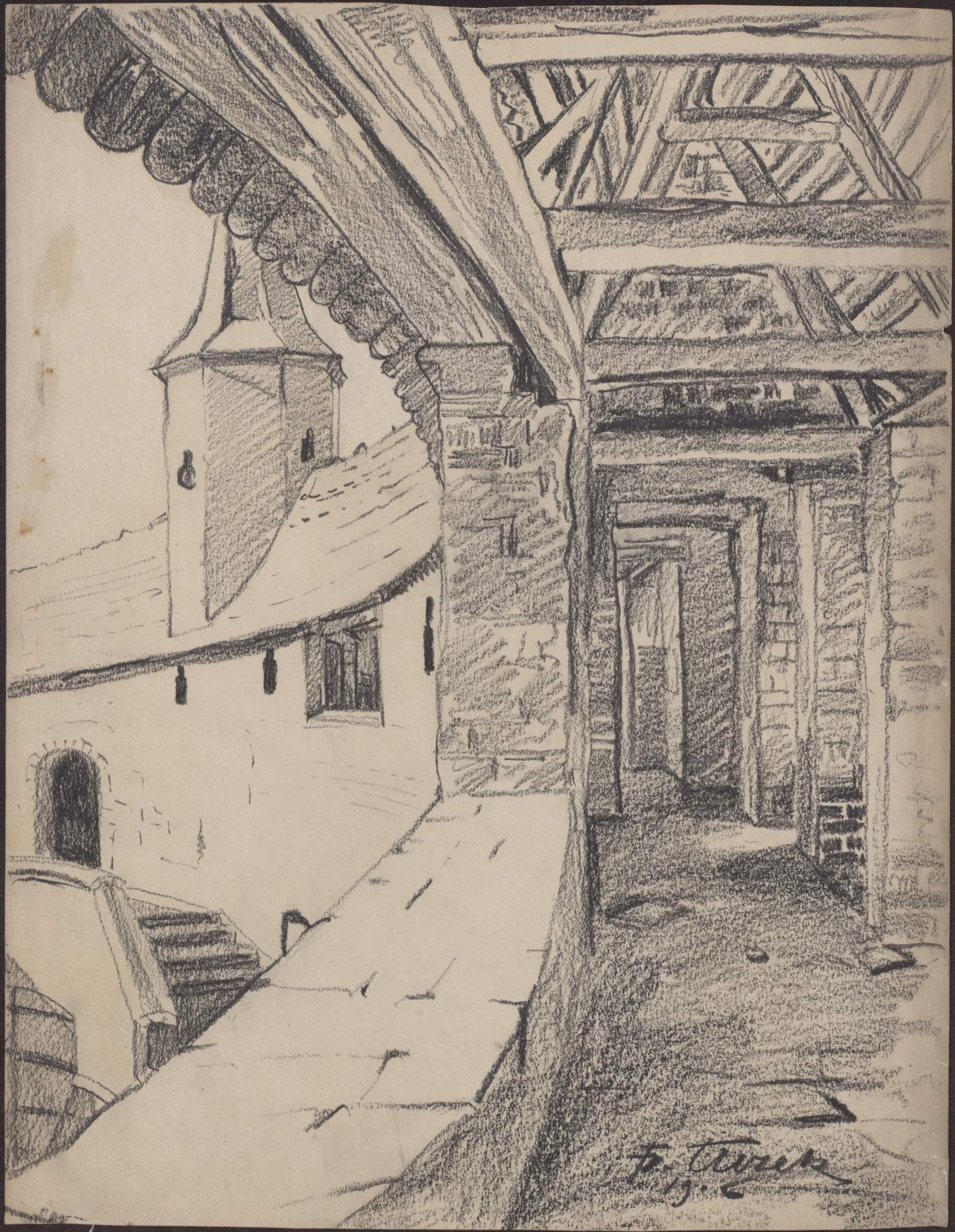 Rysunek czarną kredką przedstawiający korytarz napiętrze Barbakanu, zlewej strony schody orazwieżyczka zeszczelistym daszkiem