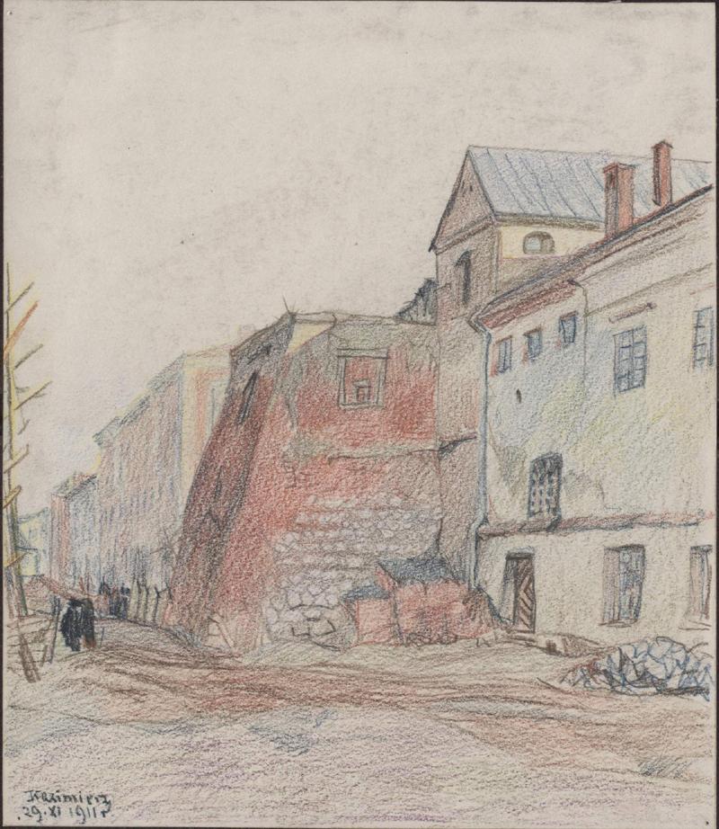 Wielobarwny rysunek przedstawiający część ul.Paulińskiej, zbasztą przy klasztorze augustianów