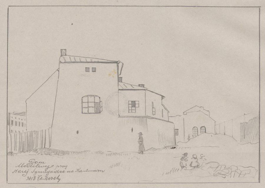Rysunek ołówkiem przedstawiający widok elewacji tylnej Starej Synagogi zparterową przybudówką mieszczącą dom modlitwy. Wdolnej części rysunku odręczna adnotacja artysty ołówkiem: dom modlitwy przy Starej Synagodze naKazimierzu