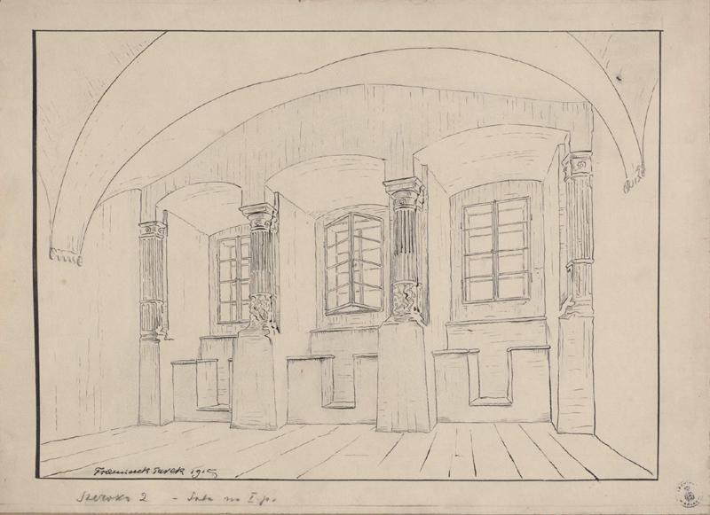Rysunek czarnym tuszem przedstawiający pomieszczenie naIpiętrze kamienicy przy ul.Szerokiej 2, widoczna ściana ztrzema dużymi wnękami okiennymi, podzielonymi półkolumnami. Wdolnej części rysunku odręczna adnotacja artysty tuszem: Szeroka 2 – sala naIpiętrze