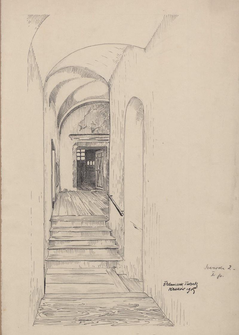Rysunek czarnym tuszem przedstawiający korytarz klatki schodowej naIpiętrze kamienicy przy ul.Szerokiej 2. Zprawej strony rysunku odręczna adnotacja artysty ołówkiem: Szeroka 2 Ipiętro