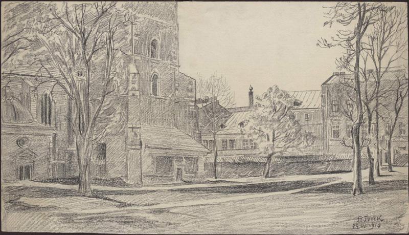 Rysunek ołówkiem przedstawiający fragment elewacji północnej kościoła Bożego Ciała, wtle poprawej mur posesji świątyni orazczęść zabudowy przy ul.Bożego Ciała, ponieparzystej stronie ulicy.