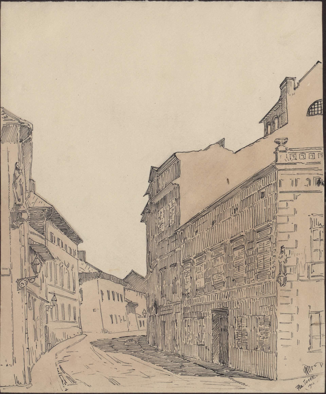 Rysunek czarnym tuszem przedstawiający ulicę św.Krzyża widzianą odstrony ulicy Siennej