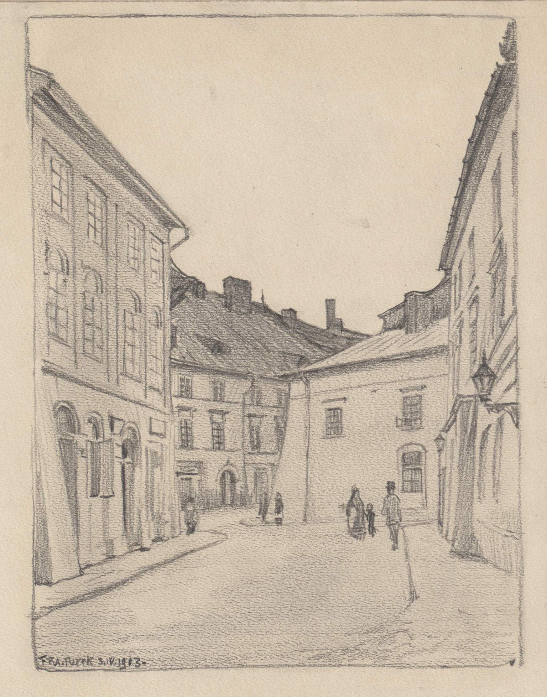 Rysunek ołówkiem przedstawiający widok spod domu przy ul.Mikołajskiej 26 wkierunku skrzyżowania ulicy św.Krzyża iMikołajskiej, wśrodku kadru jednopiętrowy dom Bractwa Miłosierdzia Bożego