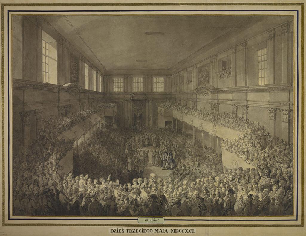1. Uchwalanie Konstytucji 3 Maja, 1791 autor rysunku: Jan Piotr Norblin, Domena Publiczna, Biblioteka Narodowa