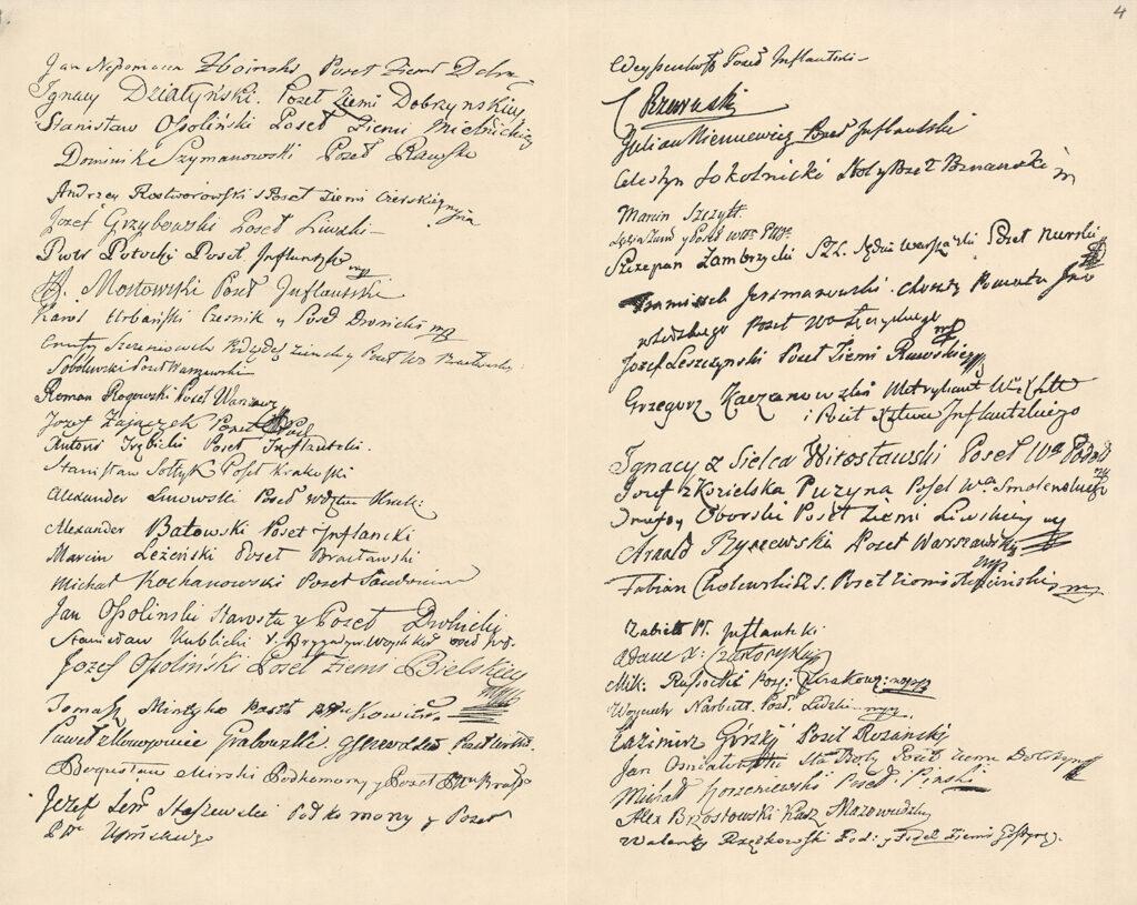 """74. Faksymile dokumentu zatytułowanego """"Podpisy zebranych kolegów (…) wchęci utrzymywania Projektu Ustawy Rządu z2 maja 1791 Archiwum Narodowe wKrakowie, Zbiór Ikonograficzny Jana Augustyna, sygn. 29/673/1/8 s. 2"""