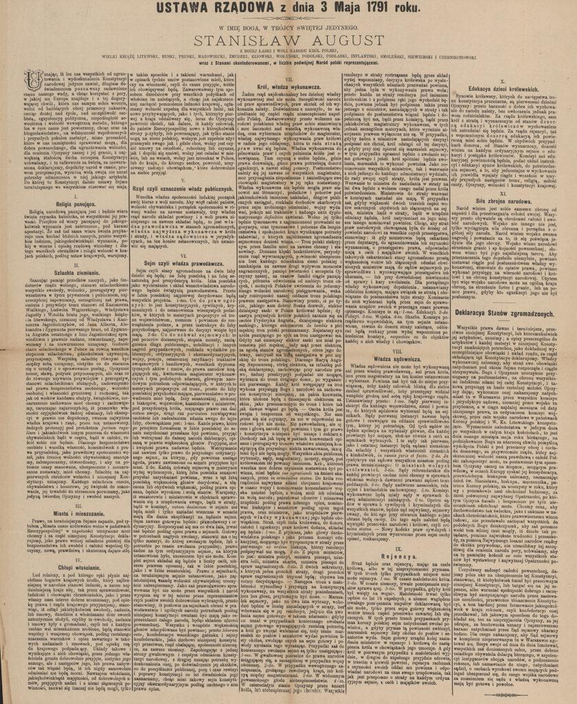 76. Ustawa rządowa zdnia 3 maja 1791 (artykuł prasowy) Archiwum Narodowe wKrakowie, Zbiór Ikonograficzny Jana Augustyna, sygn. 29/673/1/8
