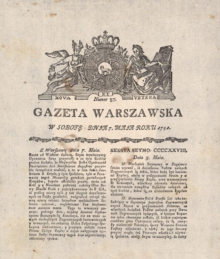 """Karta tytułowa """"Gazety Warszawskiej"""" z7 maja 1791 – reprint"""