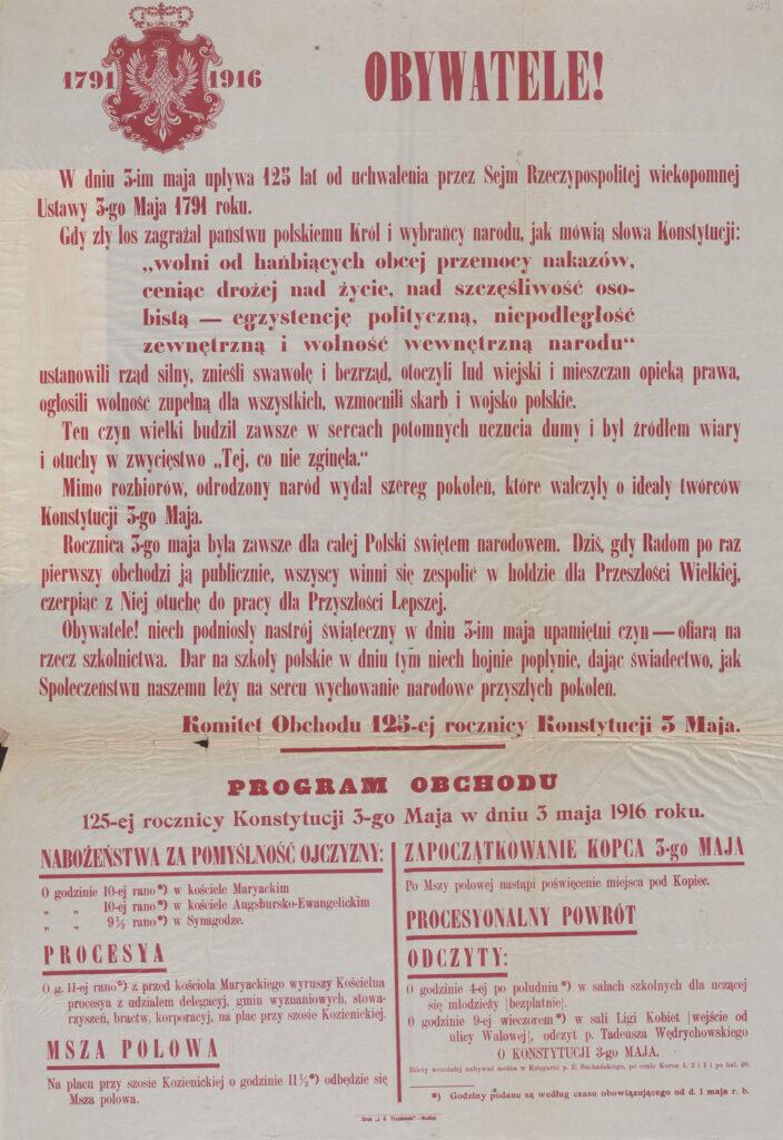 17. [Program obchodów 125. rocznicy Konstytucji 3 maja wRadomiu w1916 - wezwanie mieszkańców doskładania datków narzecz szkolnictwa] Archiwum Narodowe wKrakowie, Zbiór afiszy iplakatów, sygn. 29/665/2423