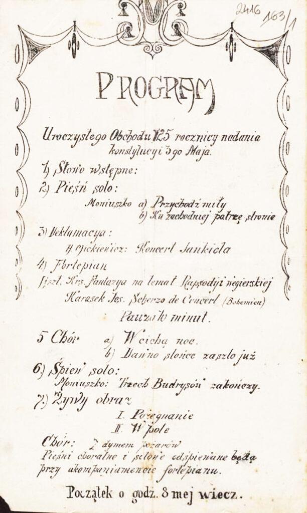24. [Program uroczystych obchodów 125. rocznicy nadania Konstytucji 3 Maja] Pińczów, 29 kwietnia 1916 Archiwum Narodowe wKrakowie, Zbiór afiszy iplakatów, sygn. 29/665/2417