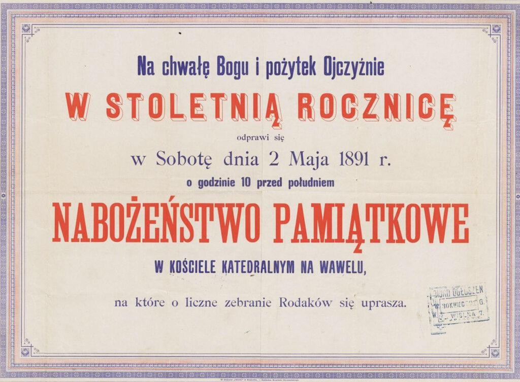 [Ogłoszenie onabożeństwie zokazji 100. rocznicy Konstytucji 3 maja