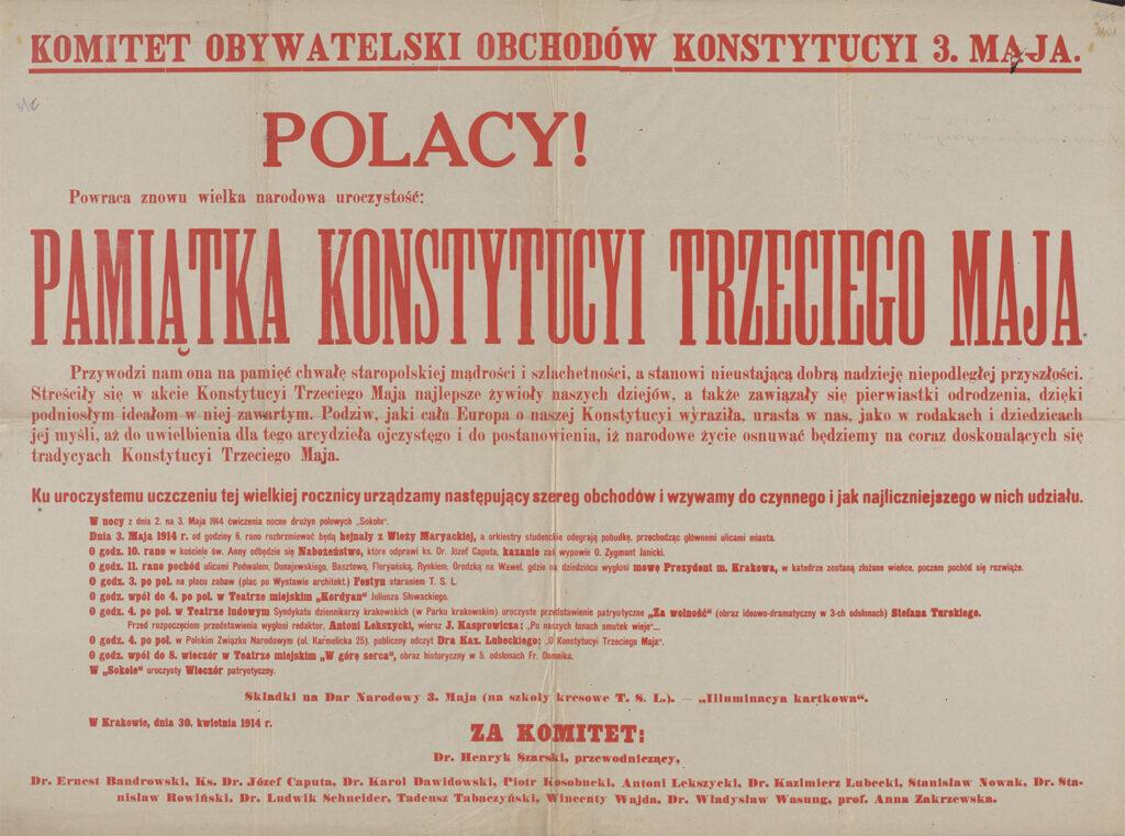 8. [Obwieszczenie Komitetu Obywatelskiego Obchodów rocznicy Konstytucji 3 maja - program] Kraków, 30 kwietnia 1914 Archiwum Narodowe wKrakowie, Zbiór afiszy iplakatów, sygn. 29/665/2402