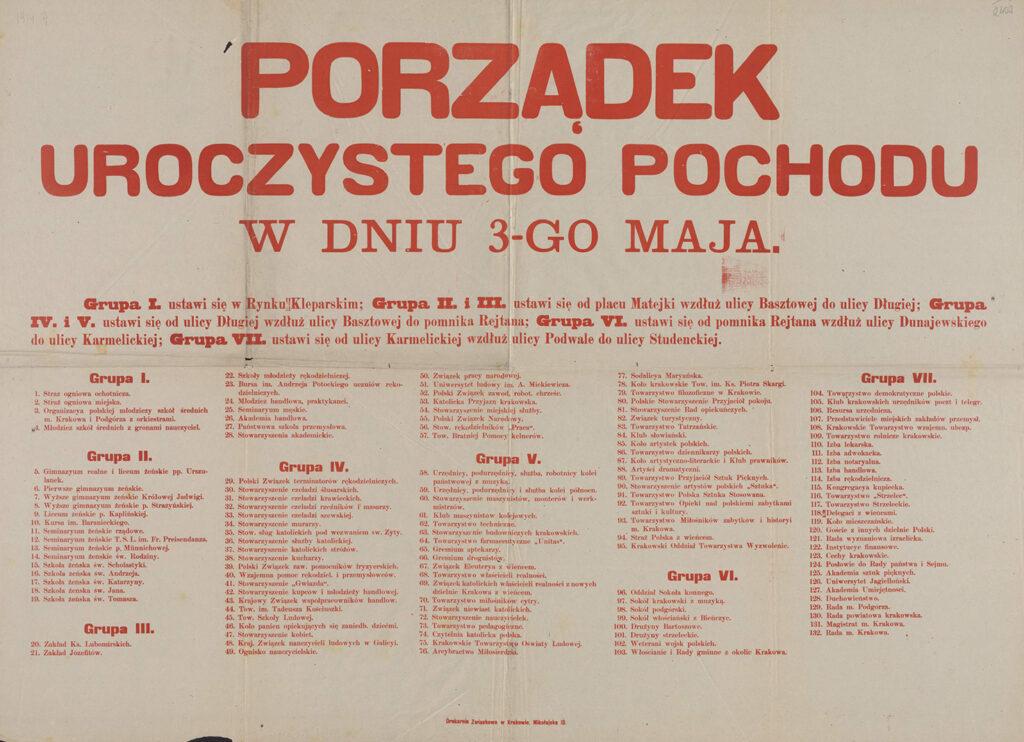 9. Porządek uroczystego pochodu [w Krakowie] wdniu 3 maja 1914 Archiwum Narodowe wKrakowie, Zbiór afiszy iplakatów, sygn. 29/665/2403