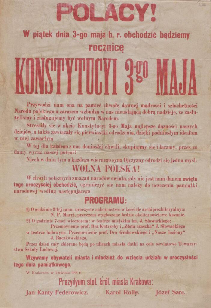 63. [Program obchodów 127. rocznicy Konstytucji 3 maja - wezwanie mieszkańców Krakowa doudziału wuroczystościach] Kraków, kwiecień 1918 Archiwum Narodowe wKrakowie, Zbiór afiszy iplakatów, sygn. 29/665/2407