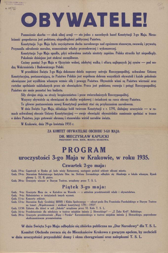 64. Obywatele! [program obchodów rocznicy uchwalenia Konstytucji 3 Maja] Kraków, 29 kwietnia 1935 Archiwum Narodowe wKrakowie, Zbiór afiszy iplakatów, sygn. 29/665/2408