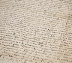 Widok dokumentu pergaminowego wktórym, król Kazimierz Jagiellończyk zatwierdza dawne prawa, część zmienia inadaje nowe mieszkańcom całego Królestwa Polskiego, koło Radzynia, 11 grudnia 1454 r. (ANK, Zbiór dokumentów pergaminowych, sygn. 29/657/250)